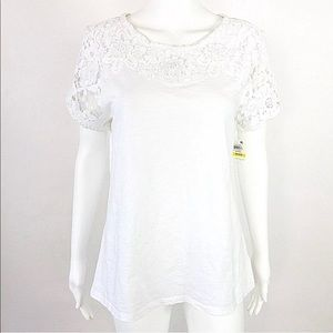 Charter Club Lace Trim Top Short Sleeve NWD -20